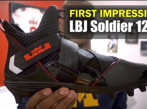 6ac053e93ef9 LeBron Soldier 12 Football Cleat (Ohio State)  First Impression ...